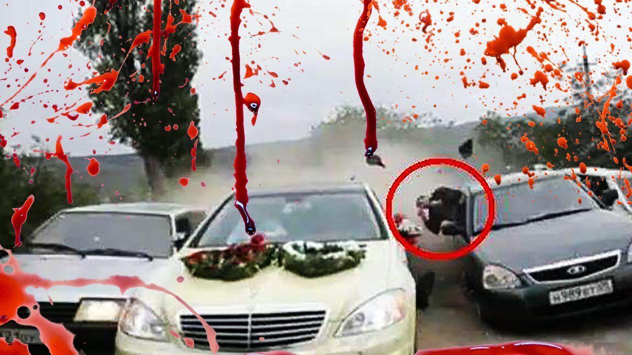 Фургон без тормозов протаранил свадебный кортеж вДагестане