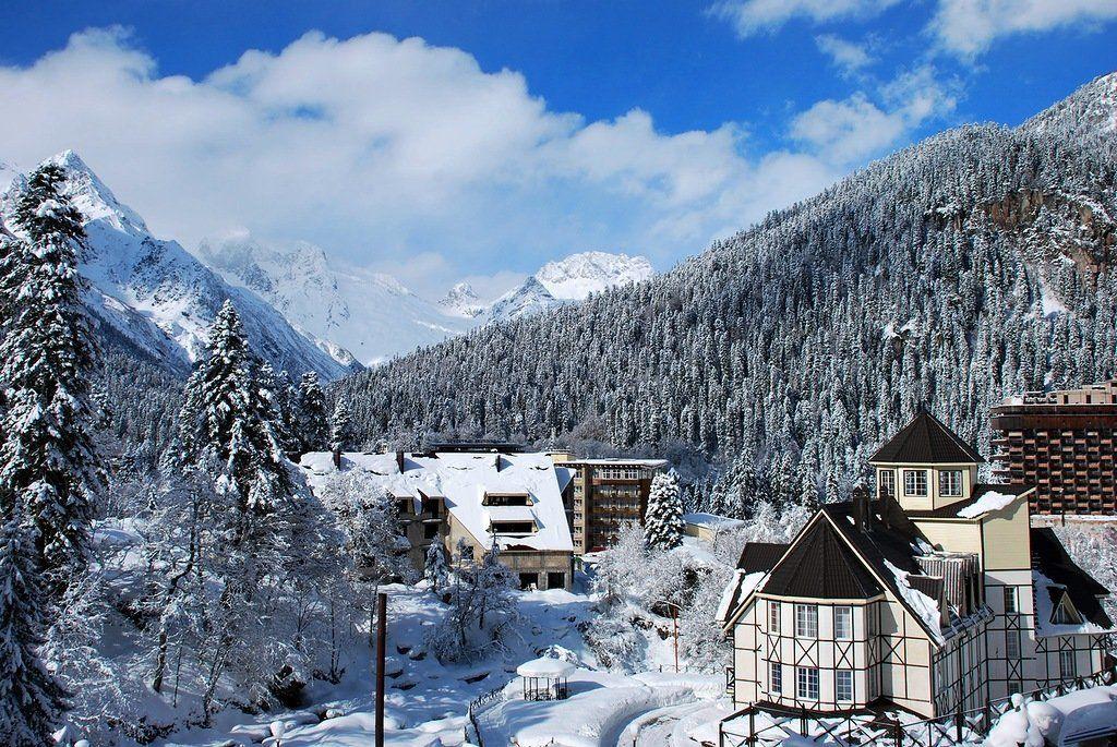 фото домбая зимой